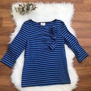 Kate Spade Black & Blue Stripped Ruffle Shirt
